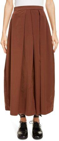 Pleated Satin Maxi Skirt