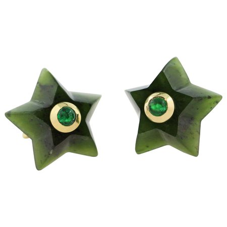 AVGVSTA 18 Karat Yellow Gold Jade and Emerald Star Stud Earrings