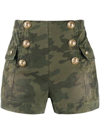 Balmain Camouflage high-waisted Shorts - Farfetch