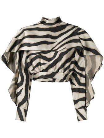 Just Cavalli ruffle-trim animal-stripe Blouse - Farfetch