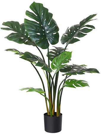 """Amazon.com: Fopamtri Artificial Monstera Deliciosa Plant 43"""" Fake Tropical Palm Tree, Perfect Faux Swiss Cheese Plant for Home Garden Office Store Decoration, 11 Leaves (1): Home & Kitchen"""