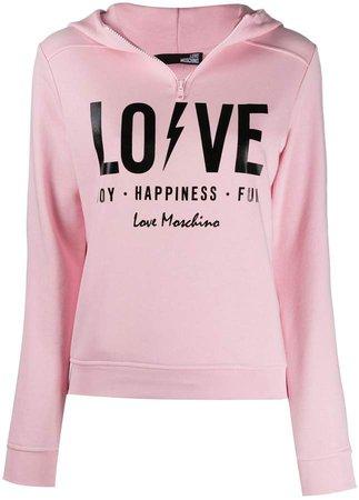 Love print hoodie