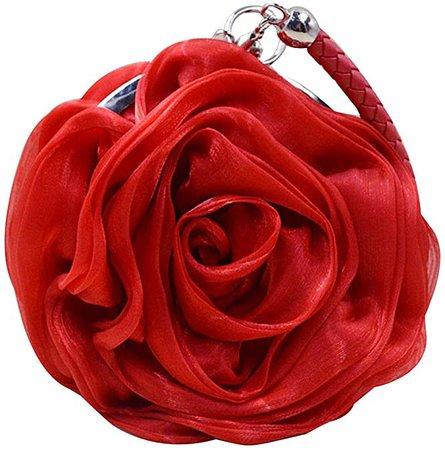 Buddy Women Rose Shaped Clutch Soft Satin Wristlet Handbag, Red, Size One Size: Handbags: Amazon.com