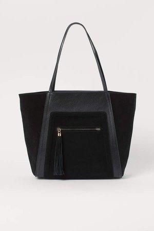 Suede-detail Shopper - Black