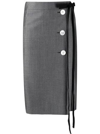 Prada Tie Fastening Buttoned Pencil Skirt - Farfetch