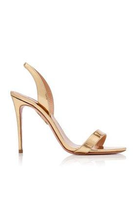 So Nude Metallic Leather Slingback Sandals By Aquazzura   Moda Operandi
