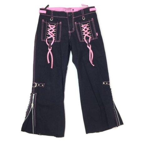Tripp nyc Pants & Jumpsuits | Tripp Nyc Womens 9 Black Pink Ribbon Lace Pockets | Poshmark