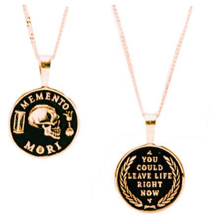gold memento mori stoic necklace