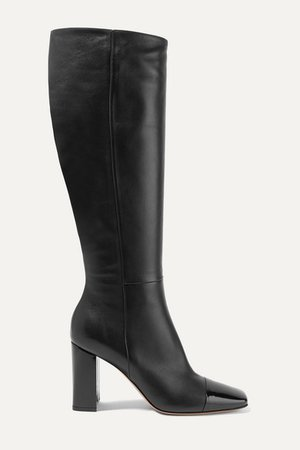 85 Smooth And Patent-leather Knee Boots - Black