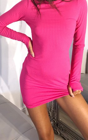 Hot Pink Long Sleeve Thumb Hole Bodycon Dress | PrettyLittleThing USA
