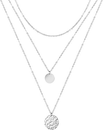 Amazon.com: Forevereally Dainty Layered Necklace Hammered Disc Pendant Necklace Coin Necklace Choker Necklace Simple Necklace for Women: Jewelry