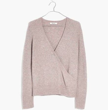 Madewell Wrap-Front Pullover Sweater in Coziest Yarn - Size S
