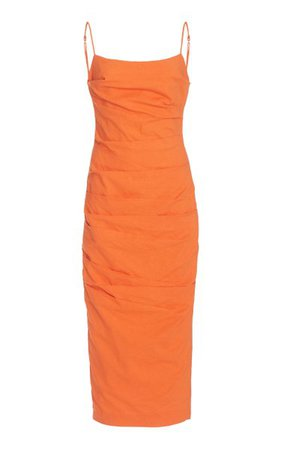 Fleur Ruched Linen-Blend Midi Dress By Significant Other   Moda Operandi