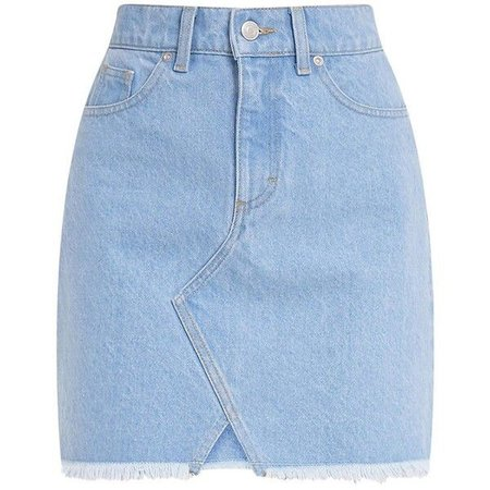 Hanele Light Wash Fray Hem Denim Mini Skirt ($31)