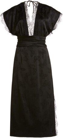 Dundas Lace-Trimmed Butterfly Jacquard Midi Dress