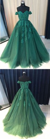 dark green prom party dress
