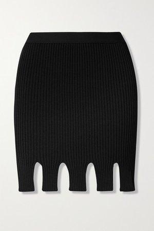 Cutout Ribbed-knit Mini Skirt - Black