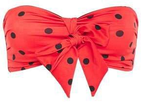 Bow-detailed Polka-dot Bandeau Bikini