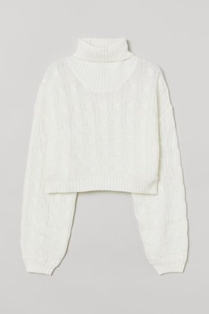 Cable-knit Turtleneck Sweater - White - Ladies | H&M US