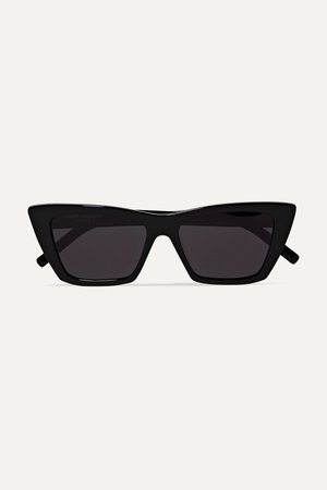 Black Mica cat-eye acetate sunglasses | SAINT LAURENT | NET-A-PORTER