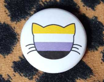 Rainbow LGBT Flag Cat Pinback Button or Magnet