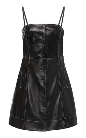Top-Stitched Leather Mini Dress by Ganni   Moda Operandi