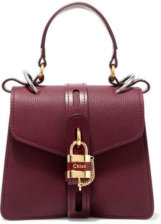 Aby Small Textured And Smooth Leather Tote - Burgundy