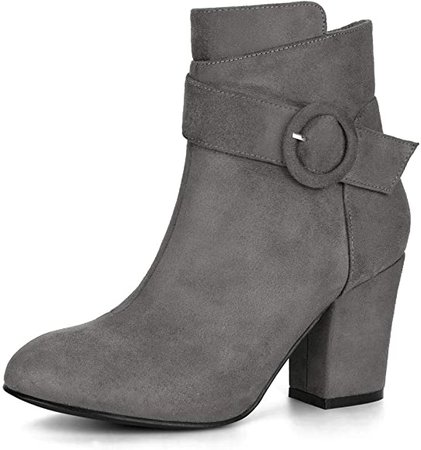Amazon.com | Allegra K Women's Buckle Block Heel Burgundy Ankle Booties - 9 M US | Ankle & Bootie