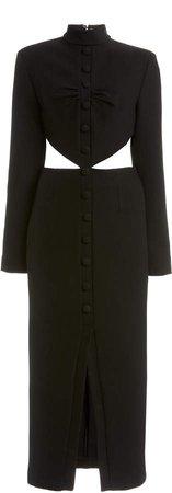 MATERIEL Button-Detailed Cutout Twill Midi Dress