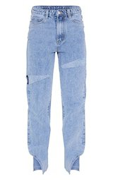 Light Blue Wash Thigh Rip Split Hem Jeans | PrettyLittleThing USA