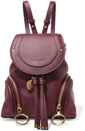 Olga Small Textured-leather Backpack - Burgundy