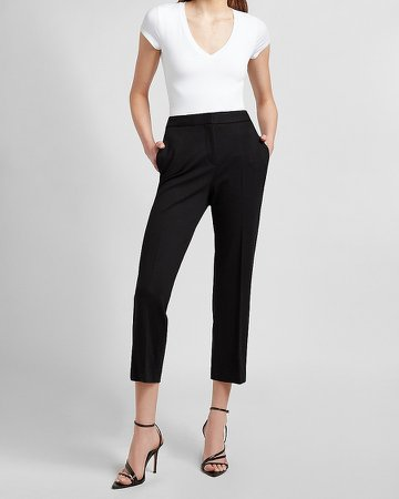 High Waisted Twill Straight Ankle Pant