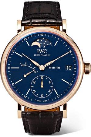 IWC SCHAFFHAUSEN | Portofino Hand-Wound Moon Phase 45mm 18-karat red gold and alligator watch | NET-A-PORTER.COM
