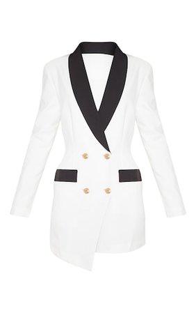 White Gold Button Contrast Blazer Dress | PrettyLittleThing
