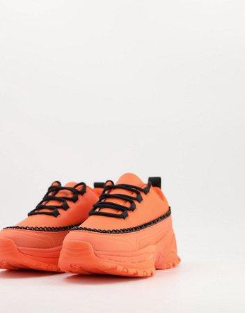 ASOS DESIGN Danielle chain chunky sneakers in orange & black | ASOS