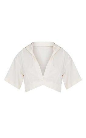Beige Woven Plunge Pocket Detail Crop Shirt | PrettyLittleThing USA