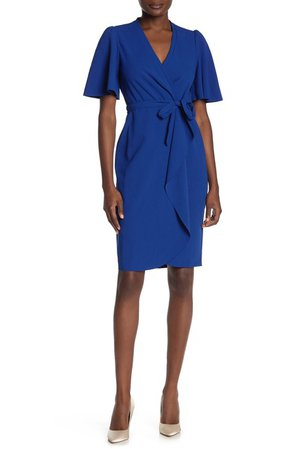 Donna Morgan | Short Flutter Sleeve Faux Wrap Dress | Nordstrom Rack