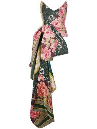 Oscar De La Renta Strapless Floral Asymmetric-Bow Bustier | Farfetch.com
