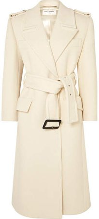 Belted Wool Coat - Ivory