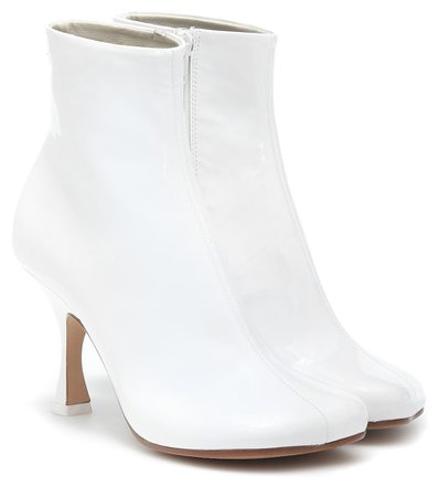 Mm6 Maison Margiela Woman Leather Sock Boots White | ModeSens