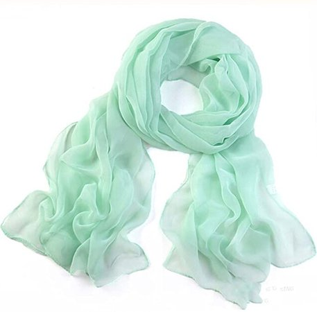 Kimloog Women Long Chiffon Sheer Scarf Lightweight Plain Colors Beach Wrap Shawl (Mint Green) at Amazon Women's Clothing store