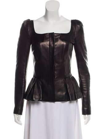 Alexander McQueen Pleated Leather Jacket - Clothing - ALE58168 | The RealReal
