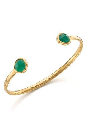 Monica Vinader Siren Green Onyx Thin Cuff Bracelet | Nordstrom