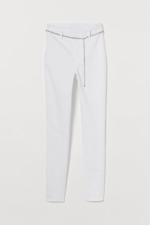 High Waist Twill Pants - White