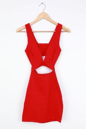 Little Red Dress - Sexy Cutout Dress - Bodycon Mini Dress - Lulus