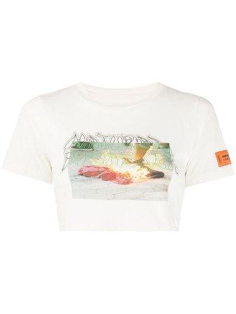 Heron Preston burning print crop T-shirt