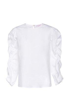 Carolina Herrera, White Ruffle Sleeve Blouse