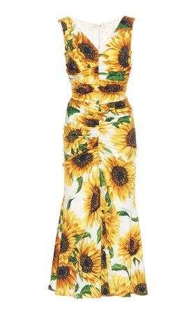 Dolce & Gabbana Ruched Floral-Print Silk Midi Dress Size: 36