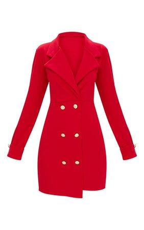 RED GOLD BUTTON DETAIL BLAZER DRESS