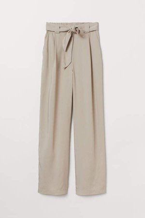 Pull-on Lyocell Pants - Beige